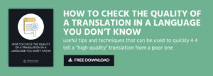 QUALITY OF A TRANSLATION